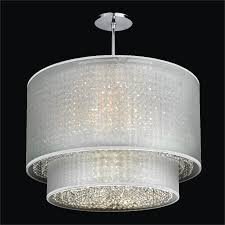 crystal chandelier with drum shade. Double Drum Shade Chandelier | Duet 601 By GLOW Lighting Crystal With A