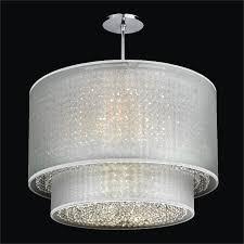 double drum shade chandelier duet 601cd24sp w 7c