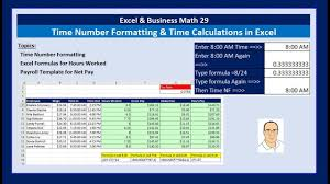 Excel Business Math 29 Time Number Formatting Time Calculations