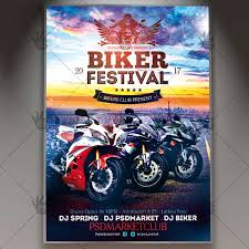 Motorcycle Event Flyer Templates Biker Festival Premium Flyer Psd Template Psdmarket