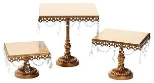 square cake stand chandelier stands set of 3 gold diy wood