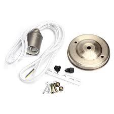 e27 e26 2m vintage fabric cable pendant light filament lamp bulb holder socket silver