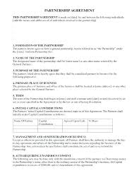 Agreement Free Partnership Template Word Sample Contract Business ...