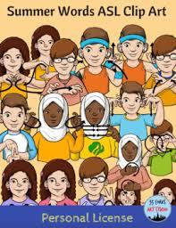 Summer Clip Art American Sign Language Asl Set Personal License