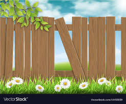 Wooden fence broken plank Royalty Free Vector Image