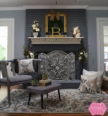 Mantel On Brick Fireplace Painted Brick Fireplace Farmhouse Inspiration Chalk Paint