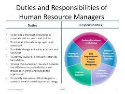 duties and responsibilities of human resource - Human Resources Manager  Duties