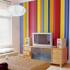 colorful vertical stripes painting for small living room with white ball shaped pendant lampodern wooden tv cabinet
