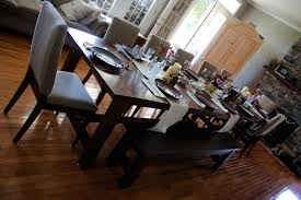 middle century light brown varnished oak dining table with long bench