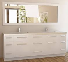 double sink and vanity. design element moscony double sink vanity set with white finish, 84-inch and