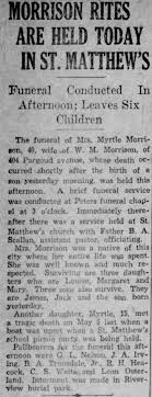 Obituary for Myrtle MORRISON (Aged 40) - Newspapers.com