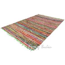 sentinel 4 x 6 ft green decorative colorful woven chindi area rag rug indian bohemian boh
