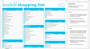 grocery list template printable household shopping list excel template savvy spreadsheets