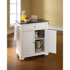 White Kitchen Cart With Granite Top Alexandria Black Granite Top Kitchen Cart White Kf30024awh