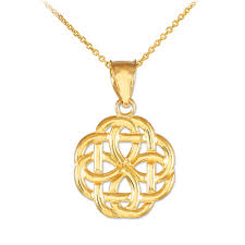 details about 14k high polished gold trinity knot charm pendant necklace