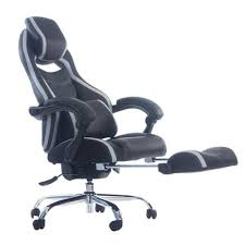 office reclining chairs. #6: Merax Racing Style Executive PU Leather Swivel Chair With Footrest And Back Support Reclining (Gray) Office Chairs