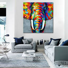 animal elephant oil painting on canvas painting for living room wall throughout living room wall art