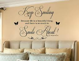 Beautiful Wall Quotes Best of Marilyn Monroe Keep Smiling Life Is Beautiful Wall Art Quote Wall