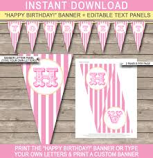 custom happy birthday banner carnival banner template circus pink and yellow editable bunting