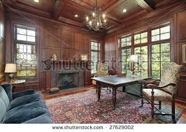 office wood paneling. Office With Wood Paneling And Fireplace
