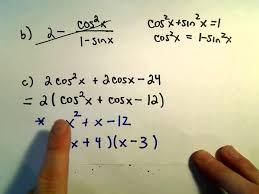 factoring and simplifying trigonometric