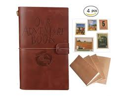 our adventure book journal 4 pieces refillable notebook leather notepad personal travel diary daily planner