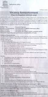 structural engineer job description structural engineer job vacancy in nepal unesco april 2018 merojob