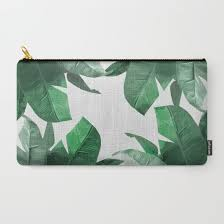 banana leaf makeup bag tropical palm print carry all pouch by tamsin lucie
