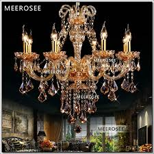 high class k9 crystal chandelier amber glass pendelleuchte light fixtures candle chandelier re 8 lamps md6609