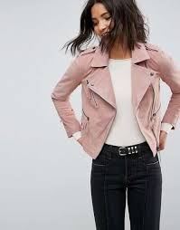 asos 100 real leather pink suede biker jacket asos clothing