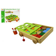wooden pull along caterpillar building block wagon containing hardwood blocks for great stacking fun blocks include cylinders and triangles to build houses