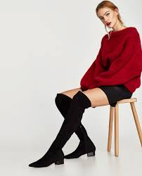 zara woman combined office. Image 1 Of COMBINED FLAT OVER-THE-KNEE BOOTS From Zara Woman Combined Office E