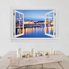 3d Wall Sticker Open Window Canalettos View At Night
