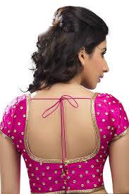 U Neck Saree Blouse Design Rani Pink Festive Wear Raw Silk Embroidered Blouse With