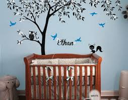 owl fox bird blossom personalize name custom tree wall decals baby nursery kids sticker vinyl decor on tree wall art for baby nursery with owl fox bird blossom personalize name custom tree wall decals baby
