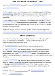 Notice Of Lease Termination Letter From Landlord To Tenant Free New York Lease Termination Letter Month To Month Tenancy Pdf