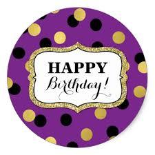 Happy Birthday Purple Black Gold Confetti Classic Round Sticker