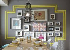 paint a border or use vinyl decals around cer of frames i love this for around my travel wall