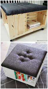 diy storage ottoman. Fine Ottoman DIY Storage Ottoman Made Of Wooden Crates With Awesome Fabric This Is A  Must Do Craft Project On Diy