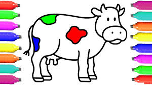 Cow Coloring Pages for Kids - Drawing Animal for Children - Learn ...