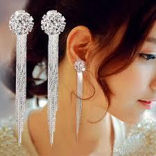2017 hot korea fashion tassel earrings long crystal clip earrings for no ear hole women girls whole party performance jewelry tassel earrings long