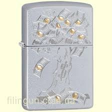 <b>Зажигалка</b> Zippo 29999 <b>Money Tree</b> Design Satin Chrome – купить ...