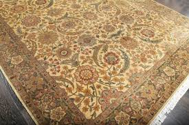 rugsville hand knotted sino persian gold green fl wool rug 270 x 370 cm