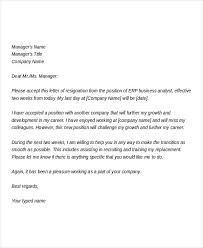 Resignation From The Company 10 Business Resignation Letters Free Sample Example