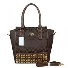 Coach Legacy Tanner In Studded Signature Small Coffee Crossbody Bags BNS