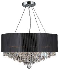 popular crystal chandelier with black drum shade 5 black crystal pendant chandelier