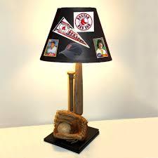baseball lamp with baseball glove baseball bat and custom shade featuring your team memorabilia