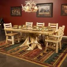 amazing log home dining room furniture set ideas with rustic long wooden table custom handmade using natural tree trunk base pedes