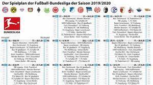 Seite wählen startseite spieltage bundesliga tabelle vereine. Bundesliga Saison 2019 20 Spielplan Enthullt Fc Bayern Bestreitet Erstes Heimspiel Gegen Hertha Bsc News De