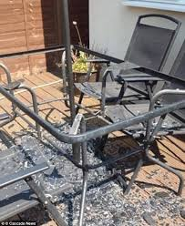 terrie moyles saw her patio table explode at her home in watford hertfordshire